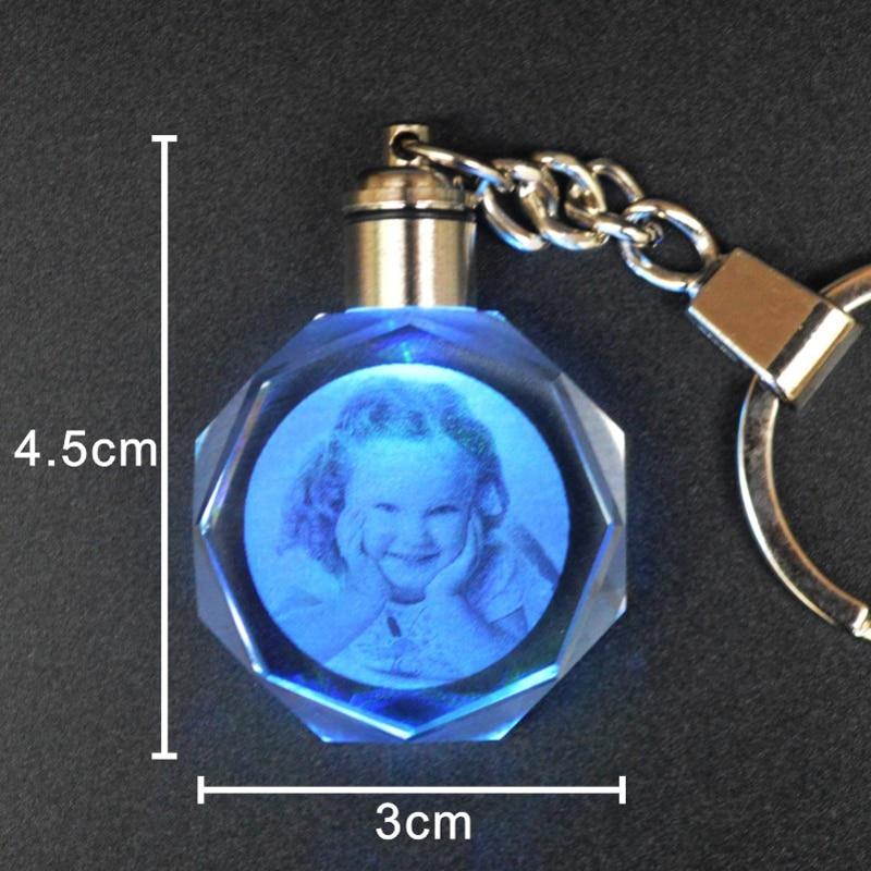 Customized Crystal Led Lighting Keychain Laser Engraved